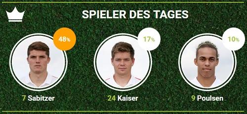 RB-Spieler des Spieltags 32 in der zweiten Liga gegen Arminia Bielefeld bei fan-arena.com