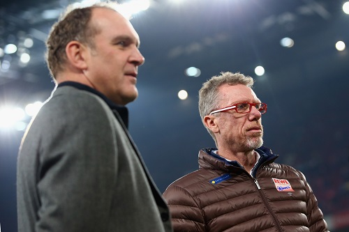 Erfolgs-Duo Stöger und Schmadtke. Photo by Alex Grimm/Bongarts/Getty Images