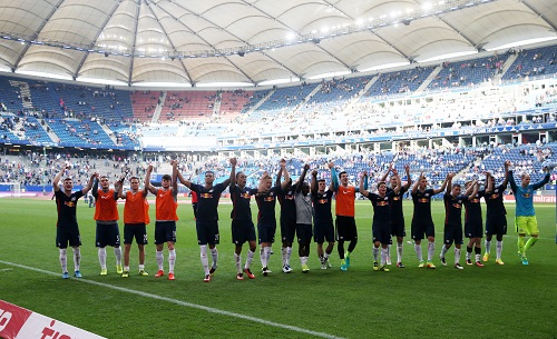 RB Leipzig in Hamburg in Feierlaune. Foto: GEPA Pictures - Roger Petzsche.