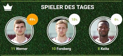Spieler des Spiels von RB Leipzig gegen Hertha BSC bei fan-arena.com