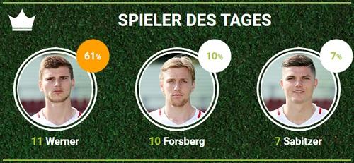 RB-Spieler des 33.Spieltags gegen den FC Bayern München bei fan-arena.com