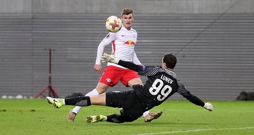 Bis dahin lief alles perfekt für RB Leipzig. Timo Werner macht das 2:0 gegen Zenit St. Petersburg. | GEPA Pictures - Sven Sonntag