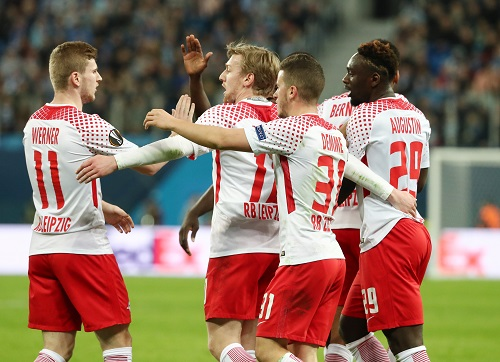 Große Freude bei RB Leipzig, auch mit Timo Werner, der das 1:0 in St. Petersburg herausragend vorbereitete. | GEPA Pictures - Roger Petzsche