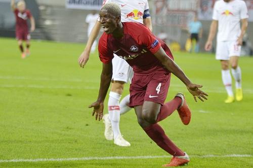 Amadou Haidara erzielt das 2:0 für Salzburg bei RB Leipzig. | Foto: Dirk Hofmeister