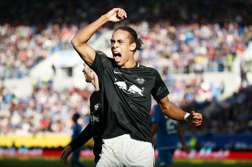 Yussuf Poulsen hatte als Man of the Match in Hoffenheim Grund zur Freude. | GEPA Pictures - Roger Petzsche
