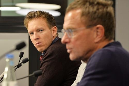 Künftiger RB-Trainer und künftiger RB-Spordirektor formulieren schon mal Meisterschaftswünsche. | Foto: Dirk Hofmeister