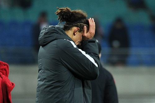 Yussuf Poulsen nimmt man die Enttäuschung über das Ausscheiden in der Europa League absout ab. | Foto: Dirk Hofmeister