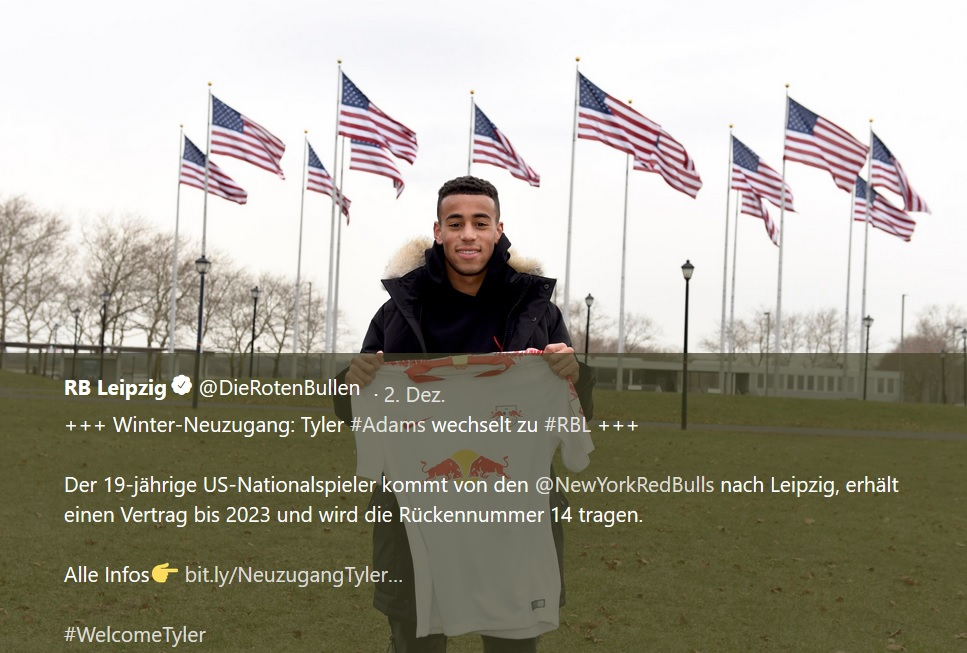 An american Boy bei RB Leipzig: Tyler Adams kommt für die Sechs. | Screenshot Twitter RB Leipzig - twitter.com/DieRotenBullen