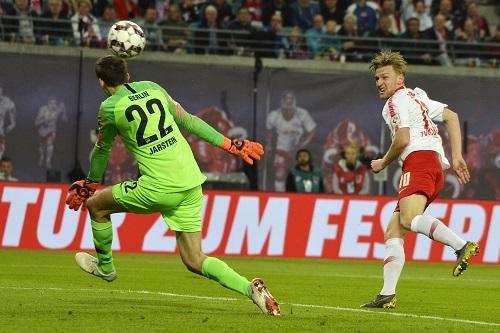Emil Forsberg machte ein starkes Spiel und erzielte das 1:0 gegen Hertha. | Foto: Dirk Hofmeister