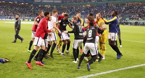 Großer Jubel über den Einzug ins Finale des DFB-Pokal. | GEPA Pictures - Sven Sonntag